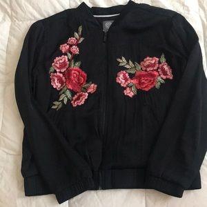 Vince Camuto silk bomber floral appliqué jacket